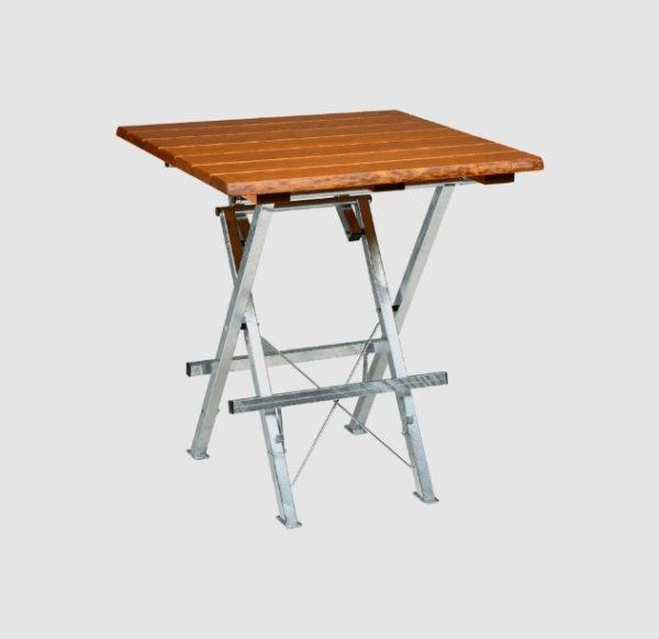 """Smokey Joe"" table in light brown, slightly angled view"