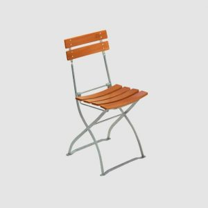 Garden chair S 5032 in light brown, angled view