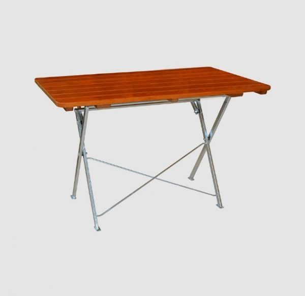 The large garden table T 5190 in light brown, angled view