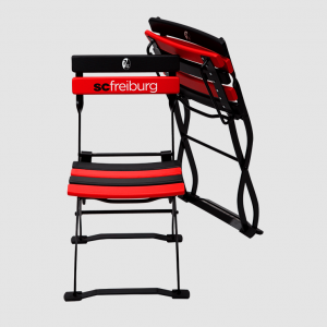 Two SC Freiburg children's chairs, a front view and a folded and ajar chair
